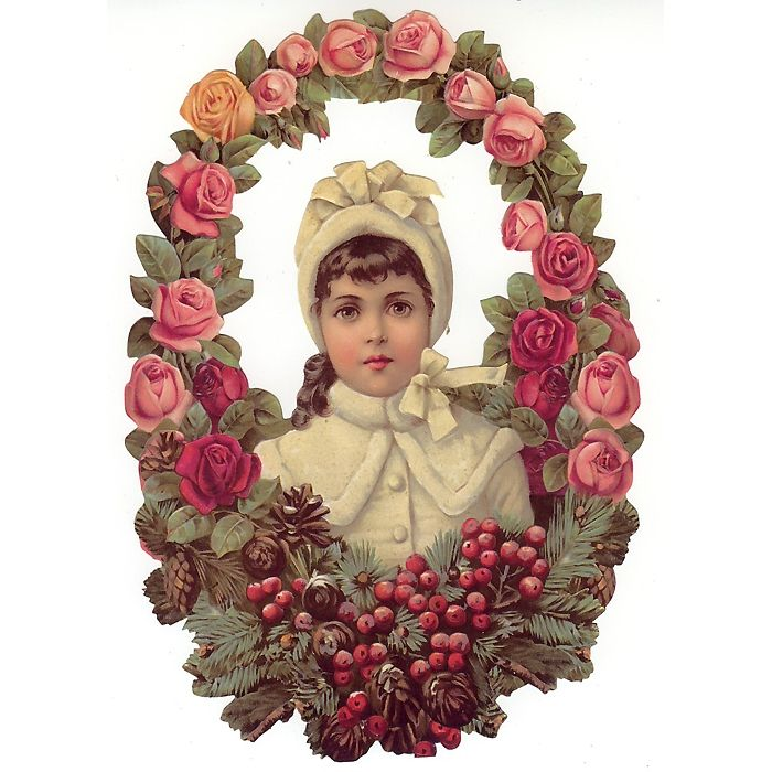 Christmas Decorations In Victorian England: Large Girl & Christmas Rose Wreath Scrap