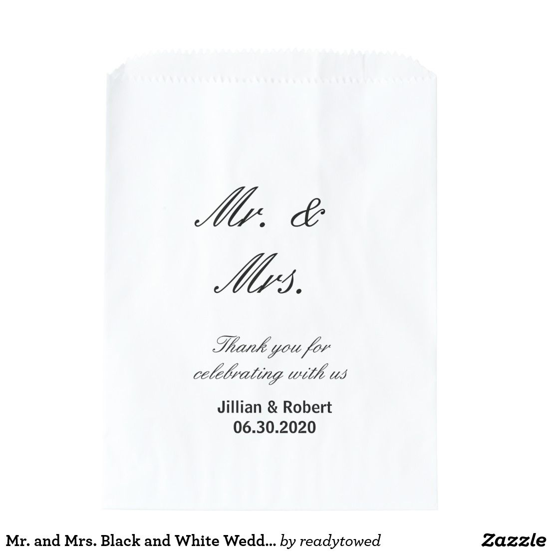 Mr. and Mrs. Black and White Wedding Favor Bags | Wedding favor bags ...
