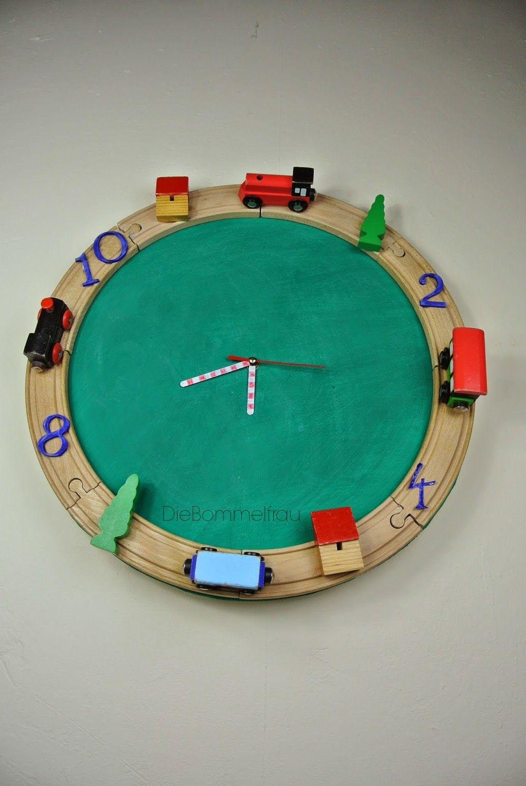 Eisenbahn-Uhr | wanduhr | Wanduhr kinderzimmer, Kinder ...