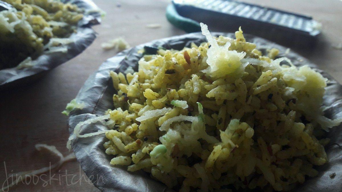 Thenga Manga Pattani Sadham ~ Coconut, Raw mango & peas Rice