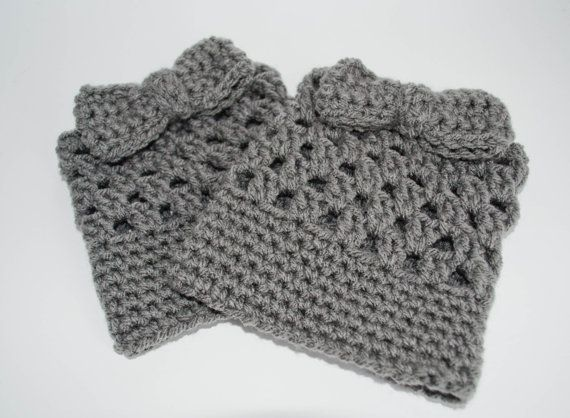 Crochet Bow Boot Cuffs