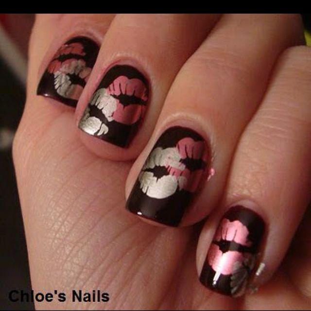 Valentine\'s Day Nail Art Design - Lip Prints on Black Polish | nails ...