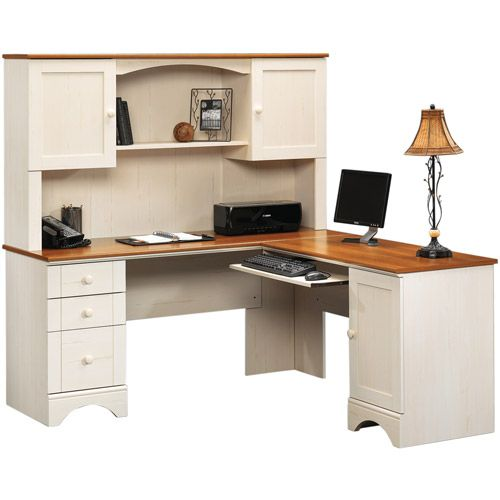 Office Desk - Sauder Harbor View Corner Computer Desk with Hutch - Antiqued  White - Computer Desks at Hayneedle - Apparently The Half-price One Is Available At Walmart. Sauder