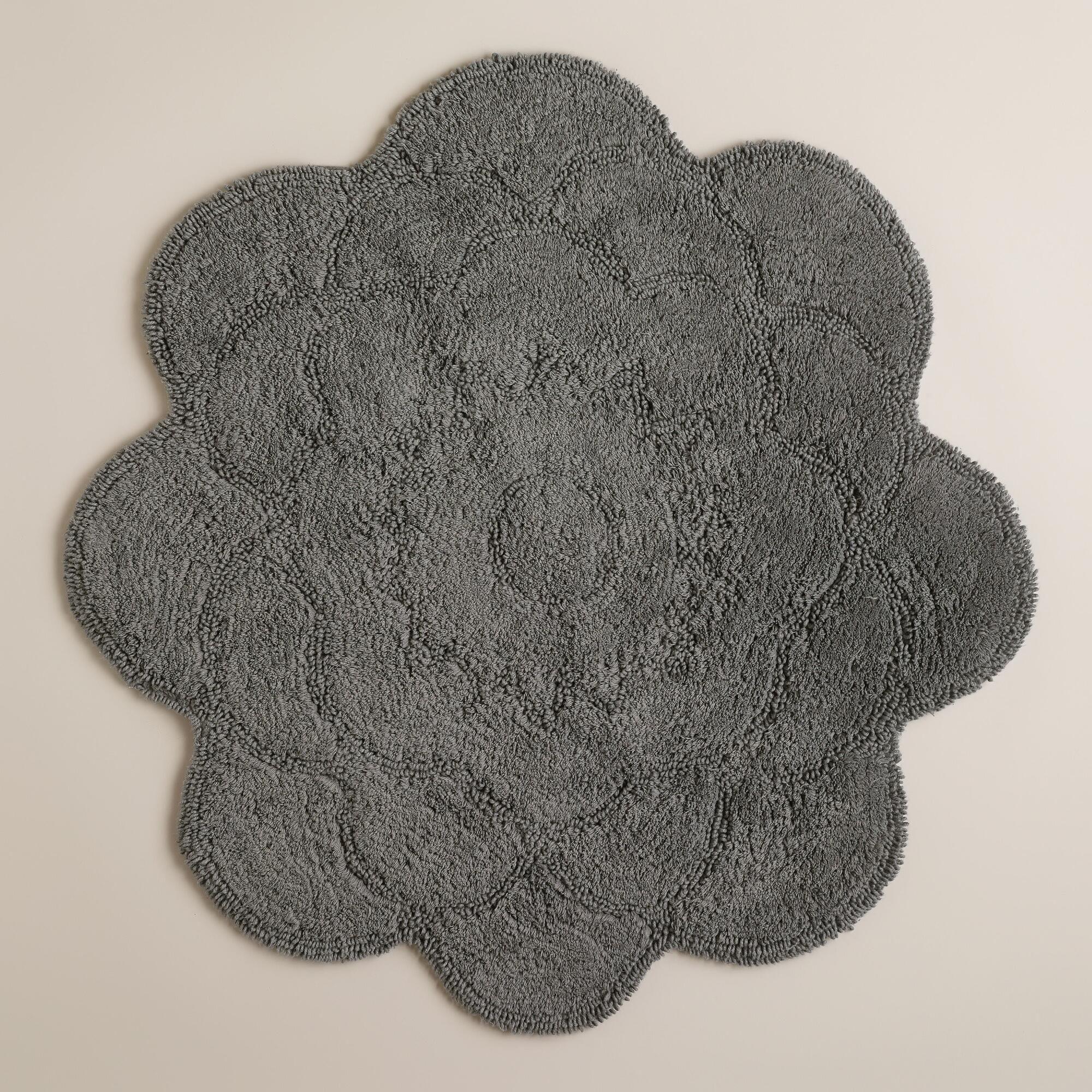 flower shaped rug gray