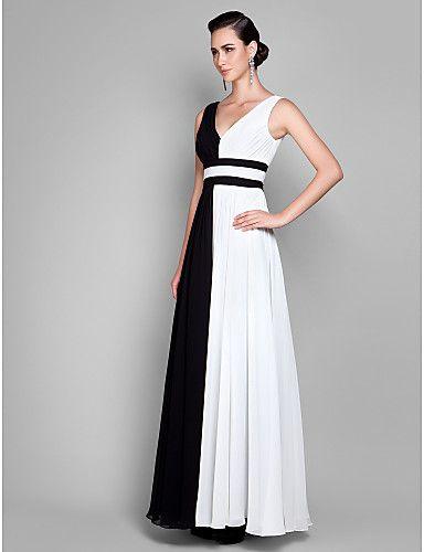 b1b3e31e5 Vaina   columna V-cuello de la gasa de la tobillo-longitud de los vestidos  de noche - USD   129.99