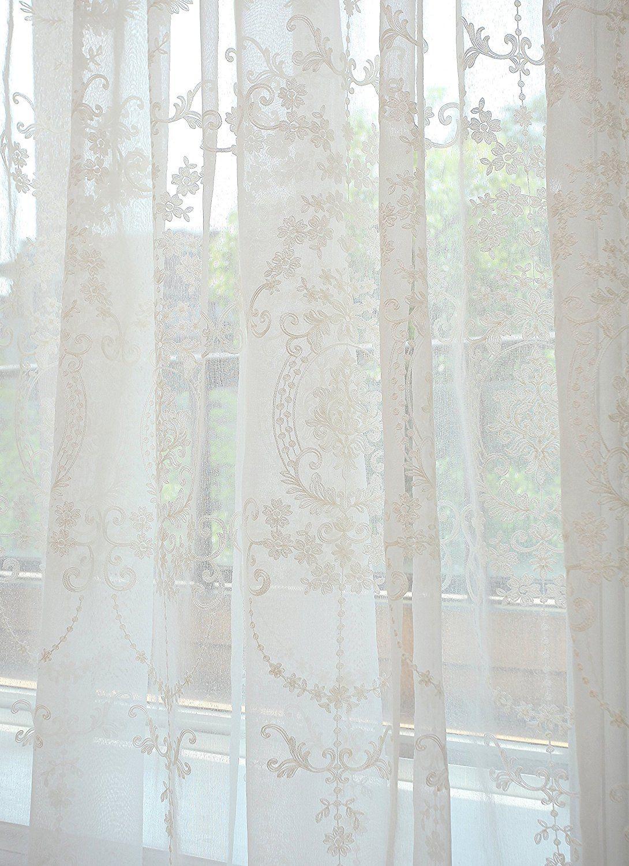 Amazon.de GWELL Elegant Supersanft Weiß Transparent Voile