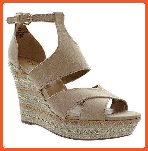 b203de999682 Nine West Women s Jinio Open Toe Espadrille Platform Wedge Sandals Light  Natural (8.5 M