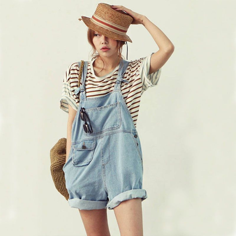 Women's cute denim overalls Korean style casual jumpsuits Loose ...