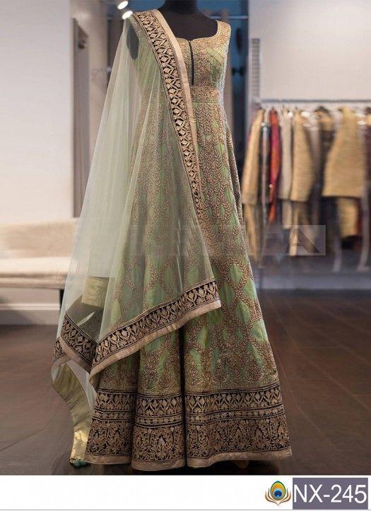 Buy Banglori Silk Green Heavy Replica Gown Order On Whatsapp ...