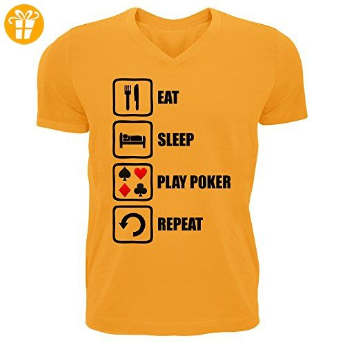 Eat Sleep Play Poker Repeat Funny Graphic Men's V-Neck T-shirt XX-Large (*Partner-Link)