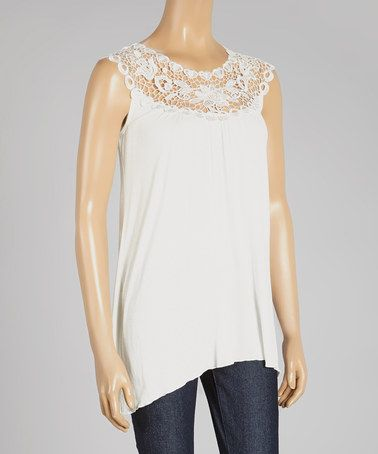 Love this Natural Lace Yoke Top by Simply Irresistible on #zulily! #zulilyfinds