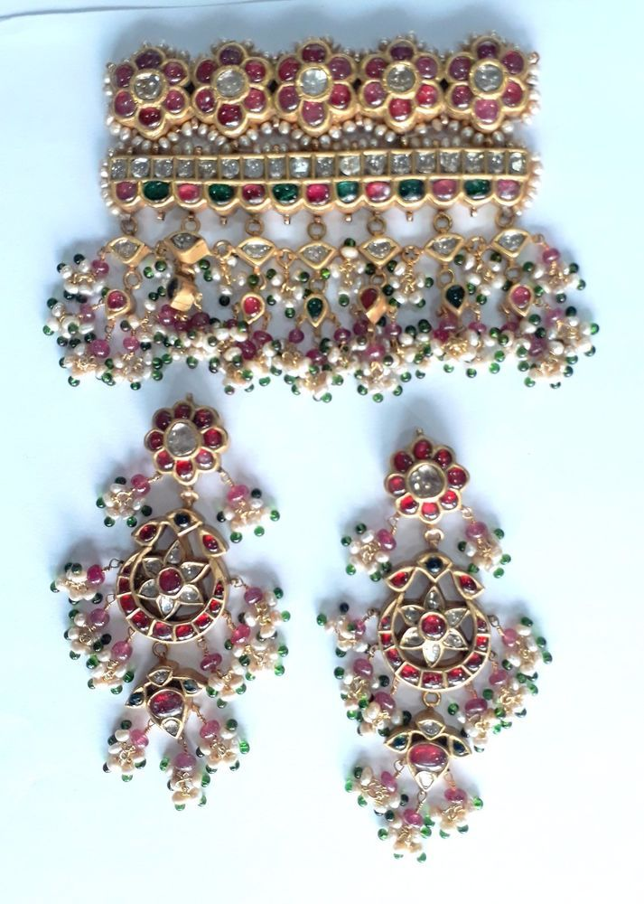 Vintage Antique 20K Gold jewelry Diamond Polki Ruby Pendant