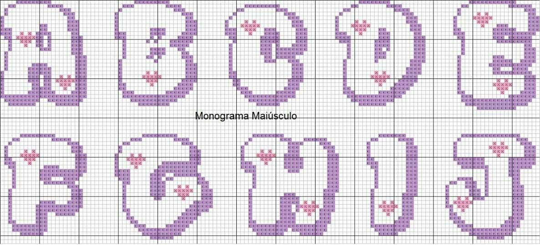 Monograma Chuva De Amor Ponto Cruz Com Imagens Monogramas Em