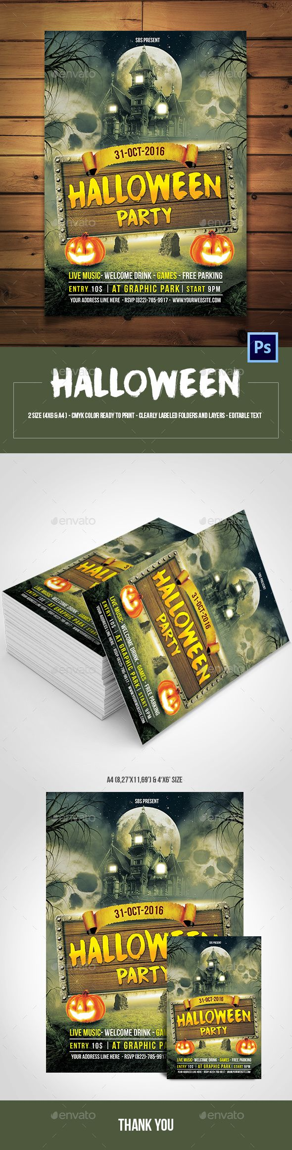 Halloween Party Flyer Template | Flyer template, Halloween and Flyers