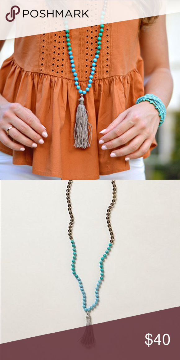 Anthropologie grey and teal tassel necklace Long, pullover styling, statement tassel necklace Anthropologie Jewelry Necklaces