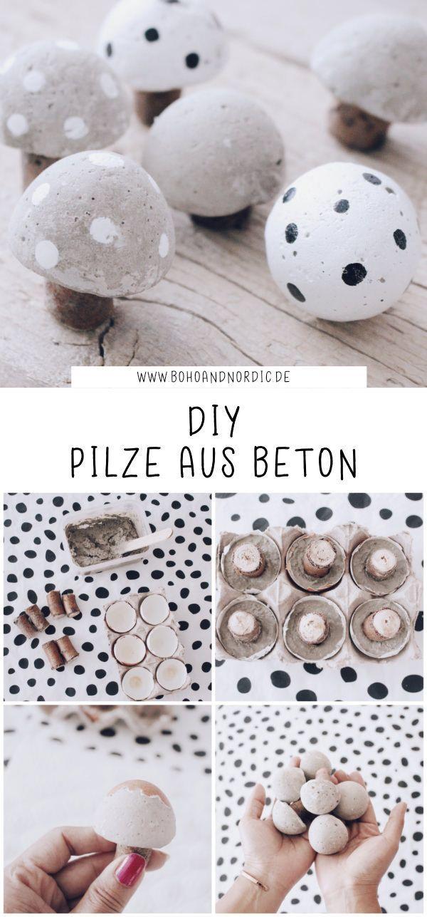 DIY Pilze aus Beton – Deko Pilze selber machen. Basteln mit Beton. Süße Pilze einfach selbst gemacht. Herbstdeko zum Selbermachen. #diy #beton #pilze #deko #anders #aus #Beton #Diy #mal #Pilze