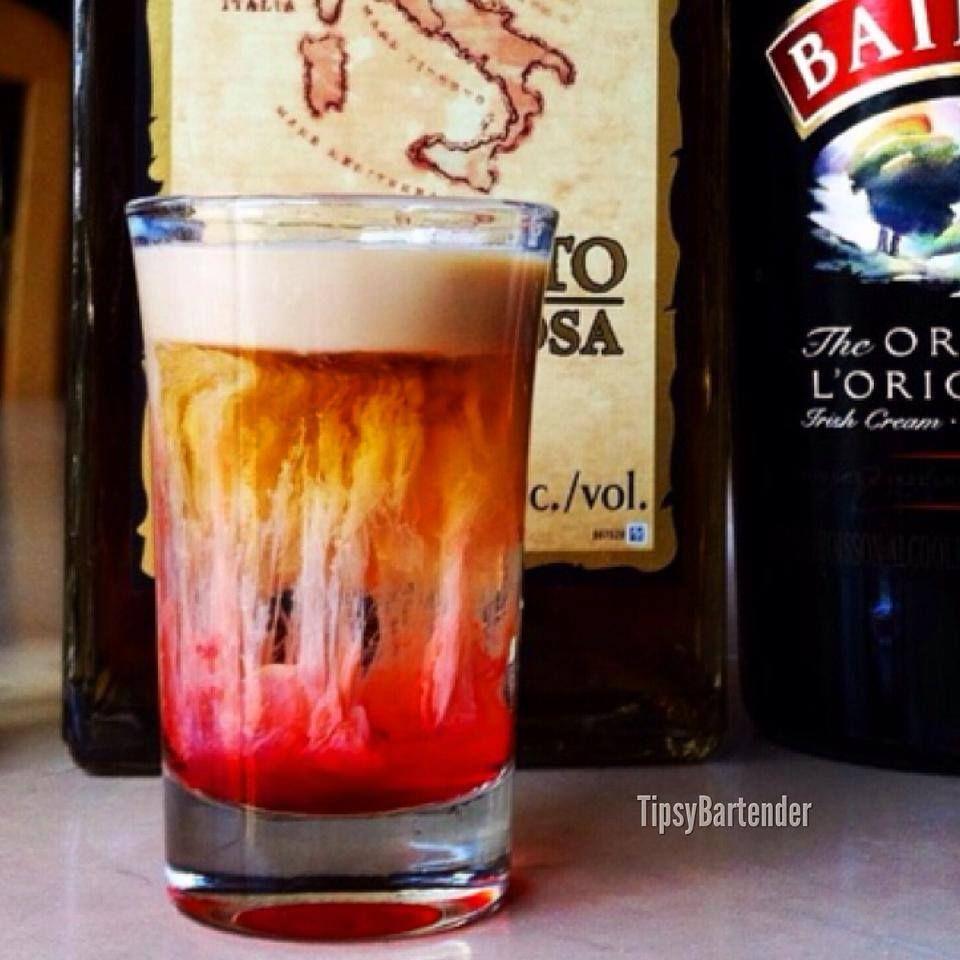 JELLYFISH SHOT Creme de Cacao Amaretto Bailey's Irish Cream Grenadine
