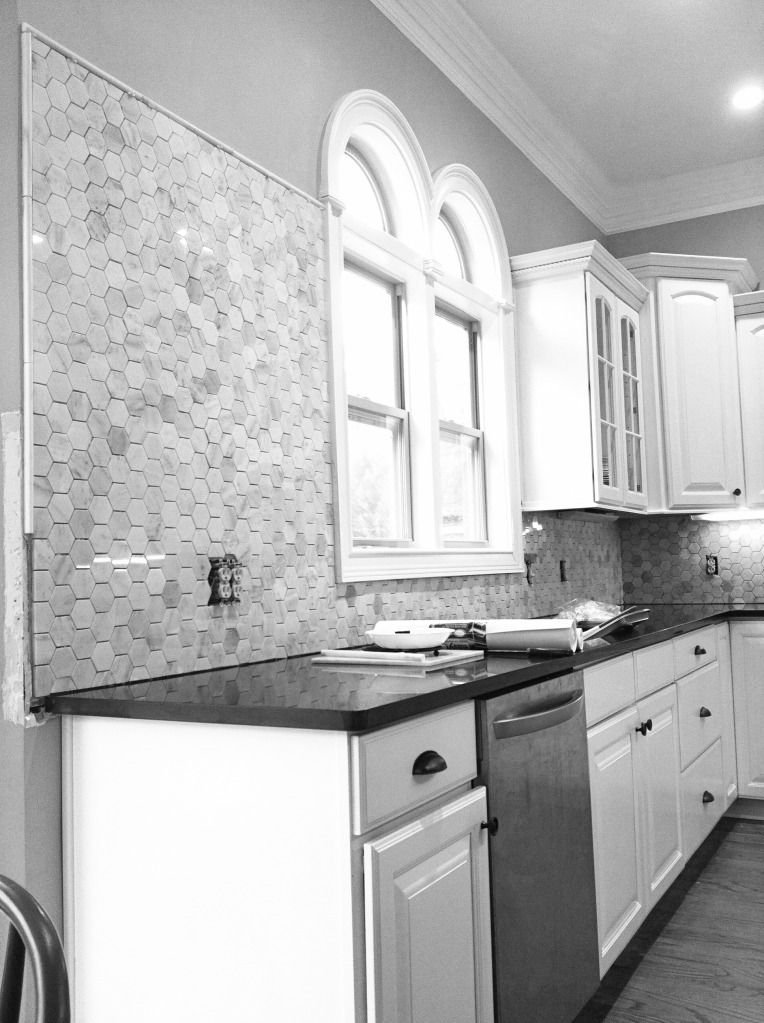 Grey Kitchen And Gorgeous Hexagon Tiles Black Backsplash