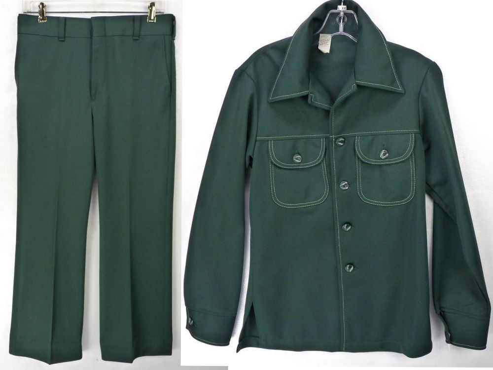 cf9bb0cff49ca3 Vintage 70s Dark Green Polyester Mens Leisure Suit Disco Shirt 38 M Pants  31x28 #Unbranded