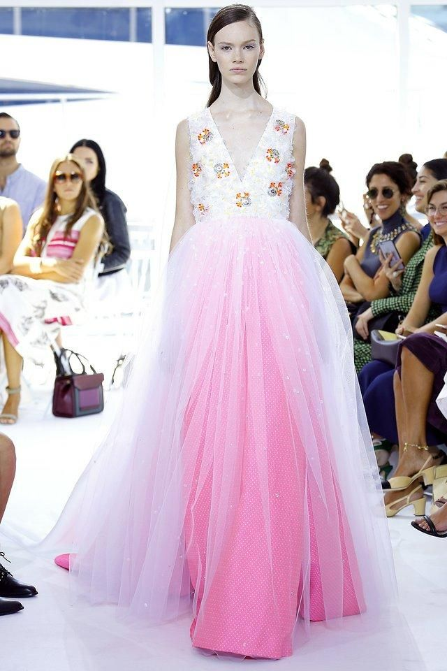 Delpozo–The fantasy wedding dress of every little girl is realized, but with better materials and demi-couture embellishments. The only thing missing is the crown—and Ken