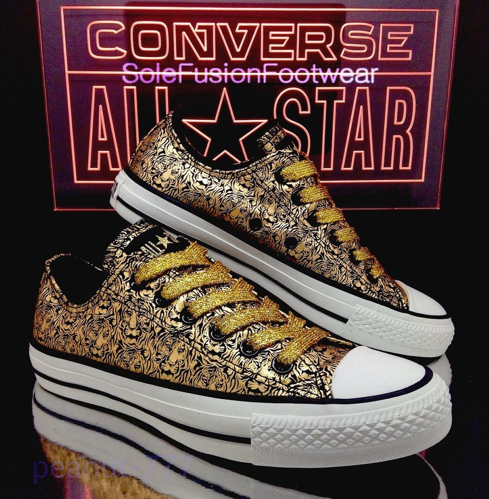 e3ad11ed68d3 Converse Womens Trainer Shoes Gold Black Sz 3 Tiger Animal Ladies Girls EU35  US5 in Clothes