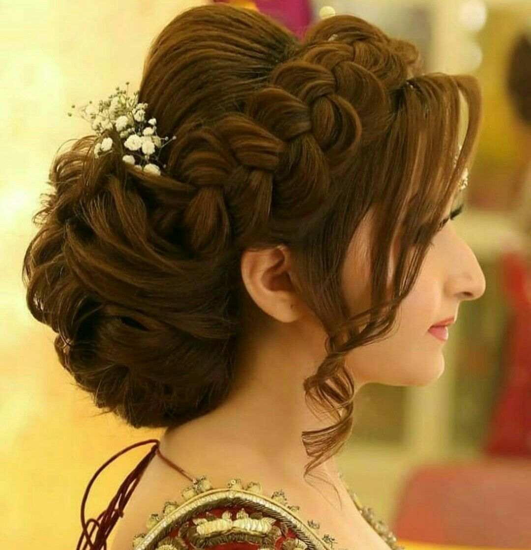 Pin By Aatika Farooqi On Girly Dpz Bridal Hair Buns Medium Hair Styles Indian Wedding Hairstyles