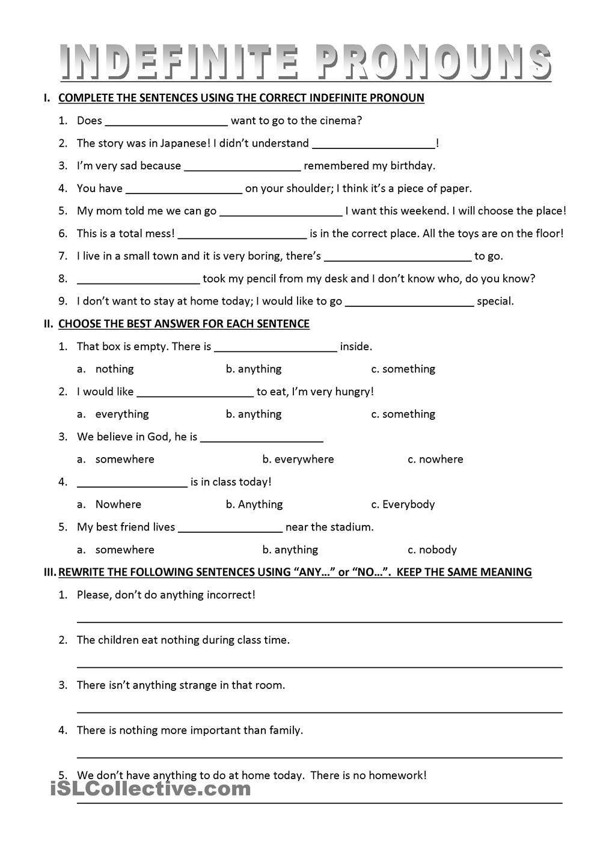 3 Worksheet Free Grammar Worksheets Fifth Grade 5 Pronouns Possessive Relative Indefinite Pronoun Worksheets Indefinite Pronouns Indefinite Pronouns Worksheets