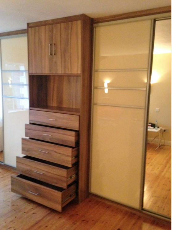 Unit And Sliding Wardrobe In Light Cream Gloss Glass And Dark Oak With Drawer Space With Images Fitted Bedroom Furniture Fitted Bedrooms Tall Cabinet Storage