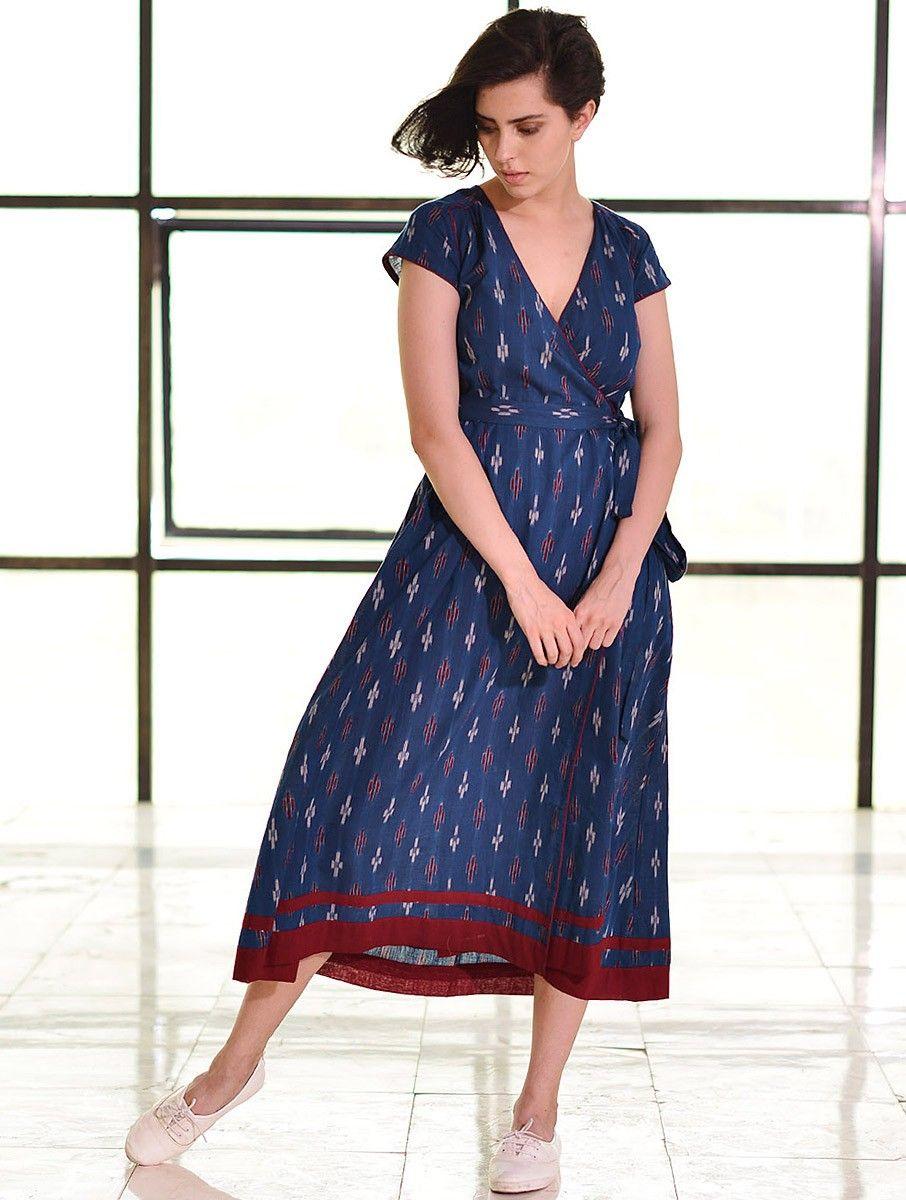 f29edca5c6 Buy Blue Tie Up Waist Ikat Handloom Dress Cotton Apparel Tops & Dresses  Whimsical Weaves Handwoven Online at Jaypore.com