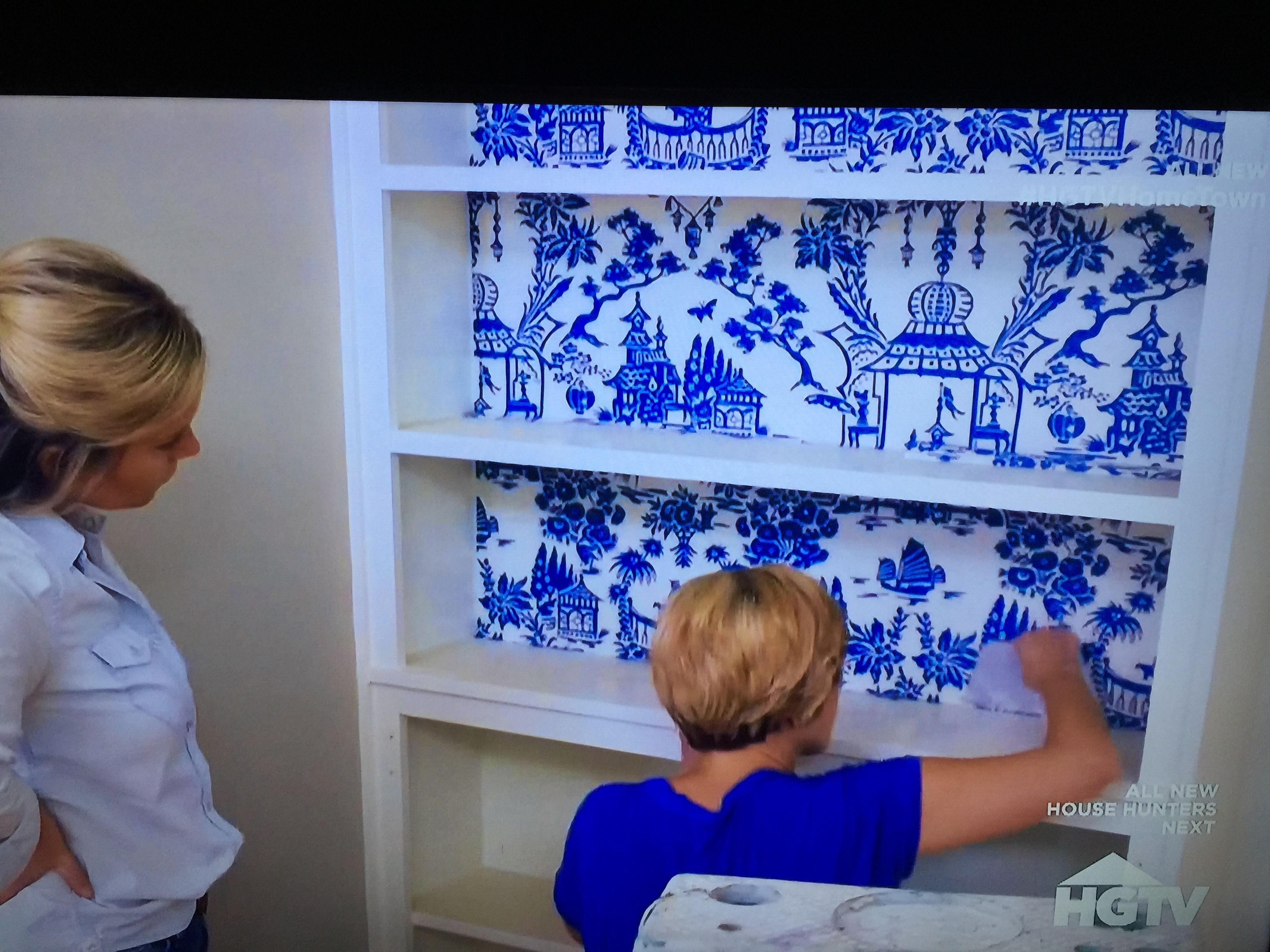 We Found Wallpaper Used By Erin In Home Town S Hurt Home Episode This Chinoiserie Comes In 4 Colors By Wallquest A Wall Coverings Home Town Hgtv Armoire Redo