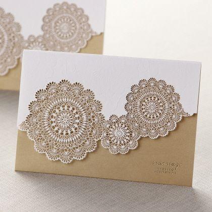 TriFold Laser Cut Gold By B Wedding Invitations Wedding Invites - Laser cut wedding invitation templates