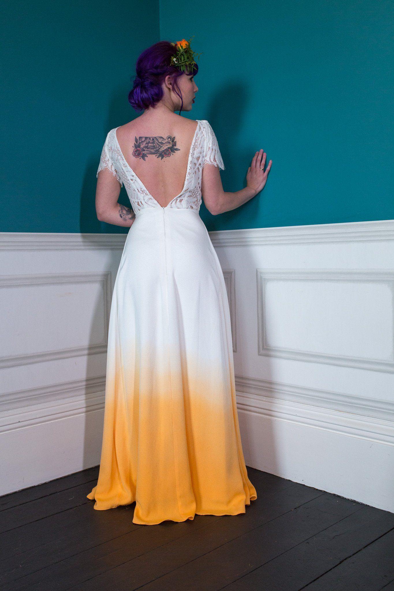 ZIGGY STARDUST orange dip dye wedding dress by Lucy Can\'t Dance ...