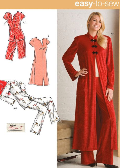 Plus Size LOUNGE & SLEEPWEAR Sewing Pattern - Nightgown Robe ...