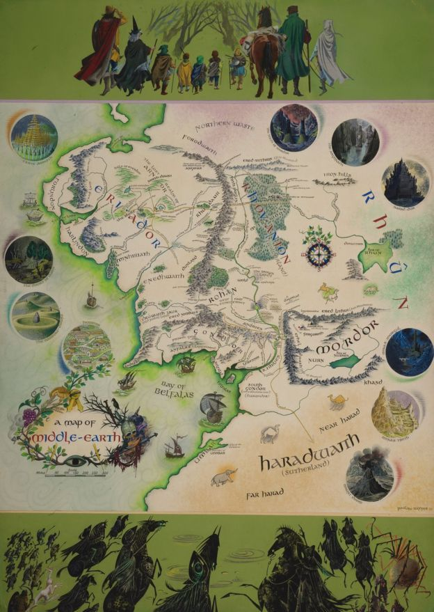tolkien marked middle earth map on show