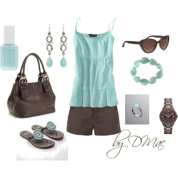 """""""Aqua and Brown"""" by dmac30 on Polyvore"""