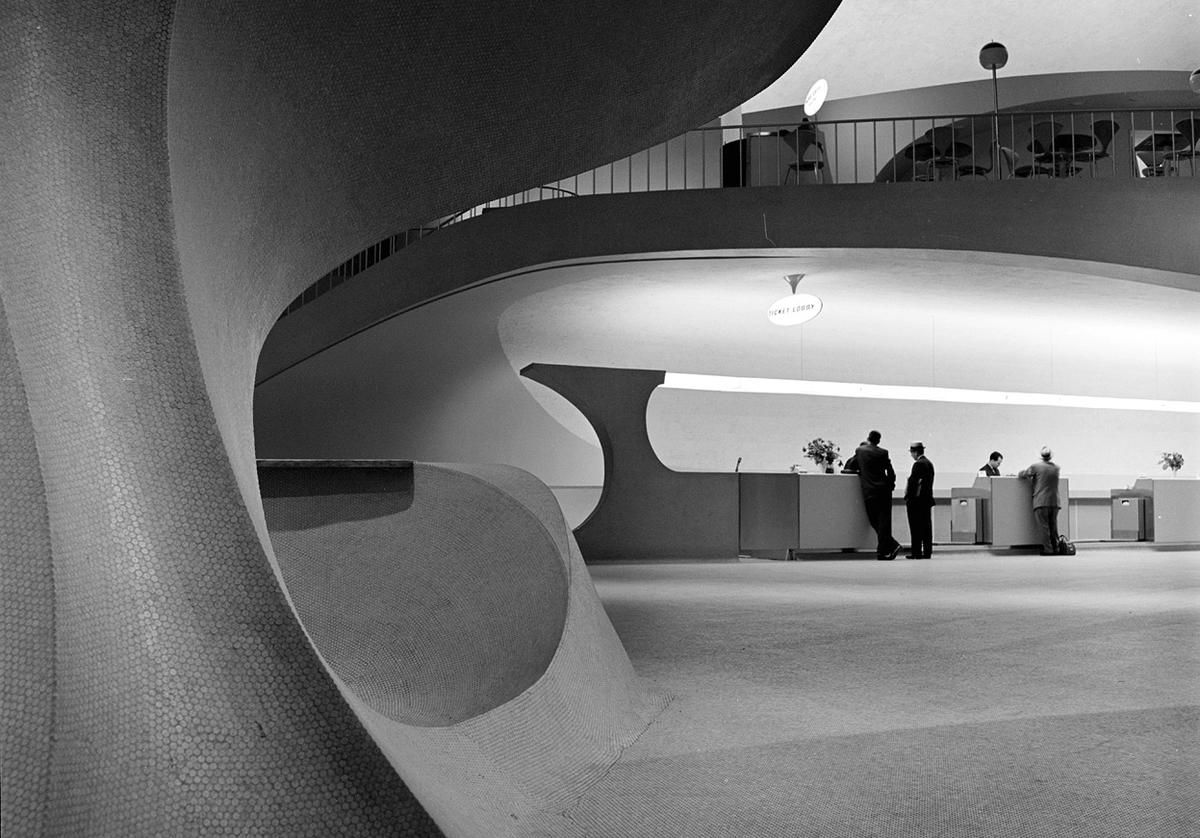 "Architectural detail of the interior of the Trans World Airlines Terminal, John F. Kennedy Airport, New York, circa 1962. The expansive, futuristic terminal building, designed by architect Eero Saarinen, opened in 1962, described as a ""Grand Central of the jet age."""
