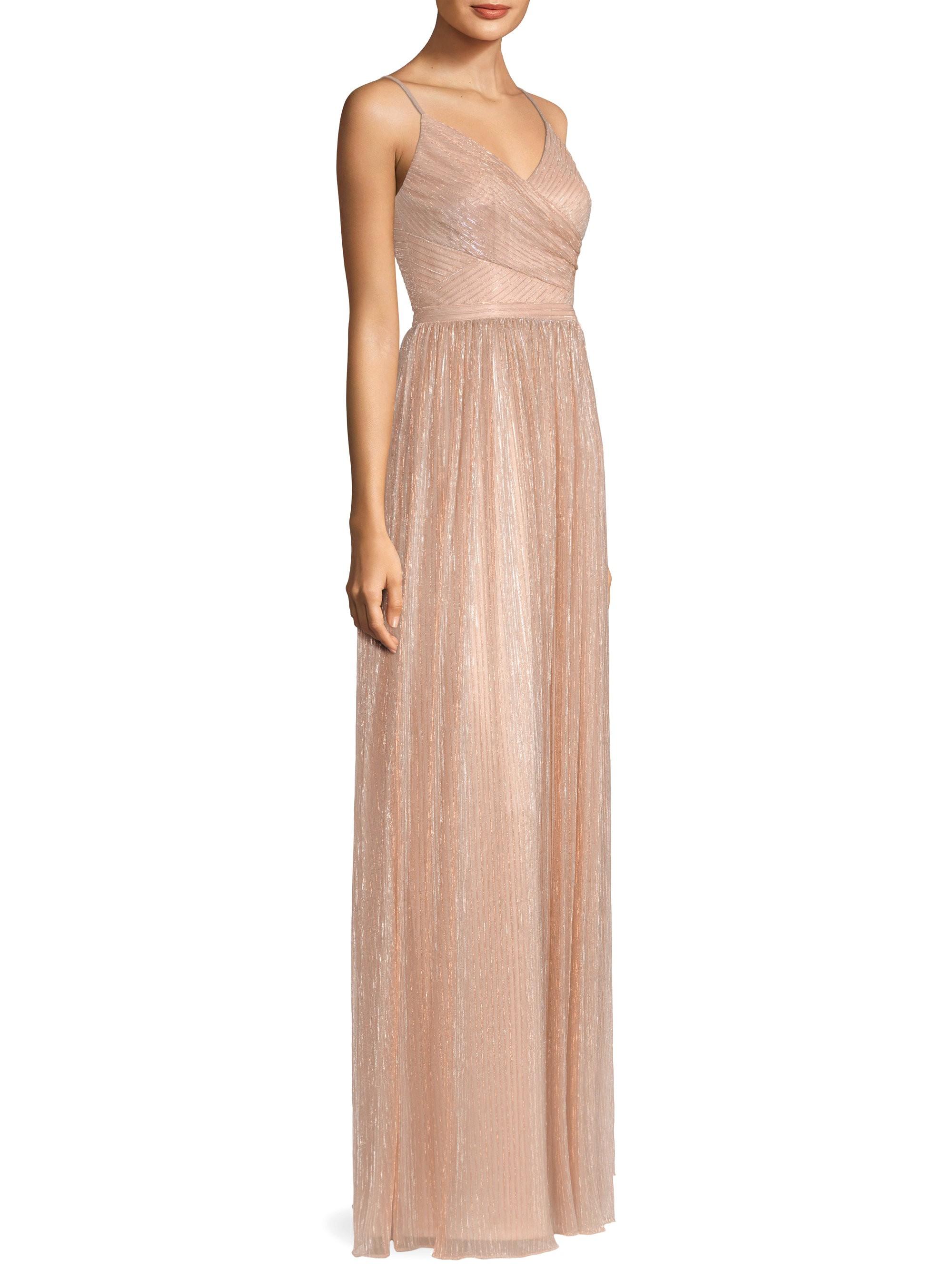 f9afe96d2718e Laundry By Shelli Segal Crisscross Bodice Metallic Dress - Pink Gin ...