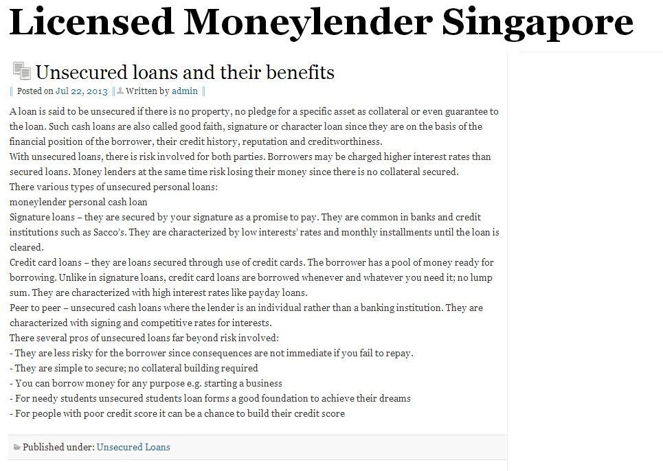 money lender, Stop by