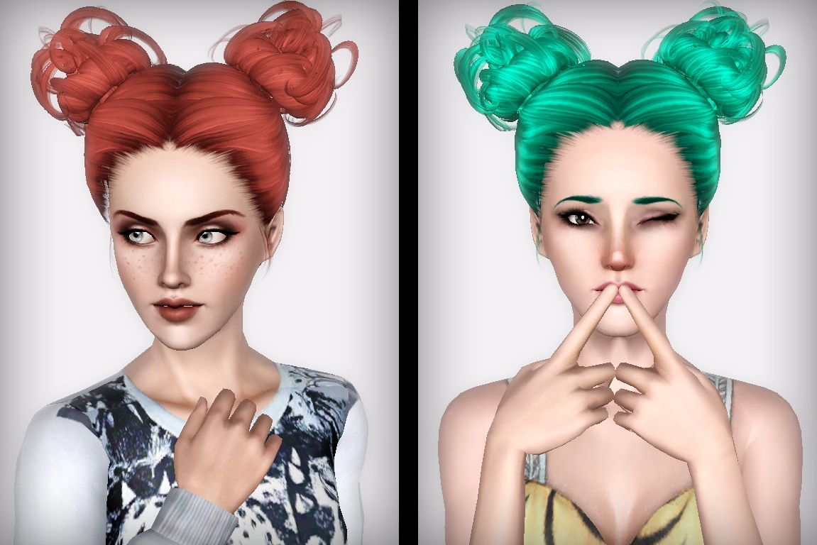Two Curly Bun Hairstyle Newsea S Cauliflower Retextured By Forever And Always For Sims 3 Sims Hairs H Sims 4 Curly Hair Curly Bun Hairstyles Bun Hairstyles