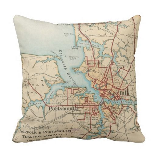 Vintage Map of Norfolk and Portsmouth VA (1919) Throw Pillow