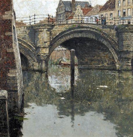 Henri Cassiers - Vieux pont à Malines