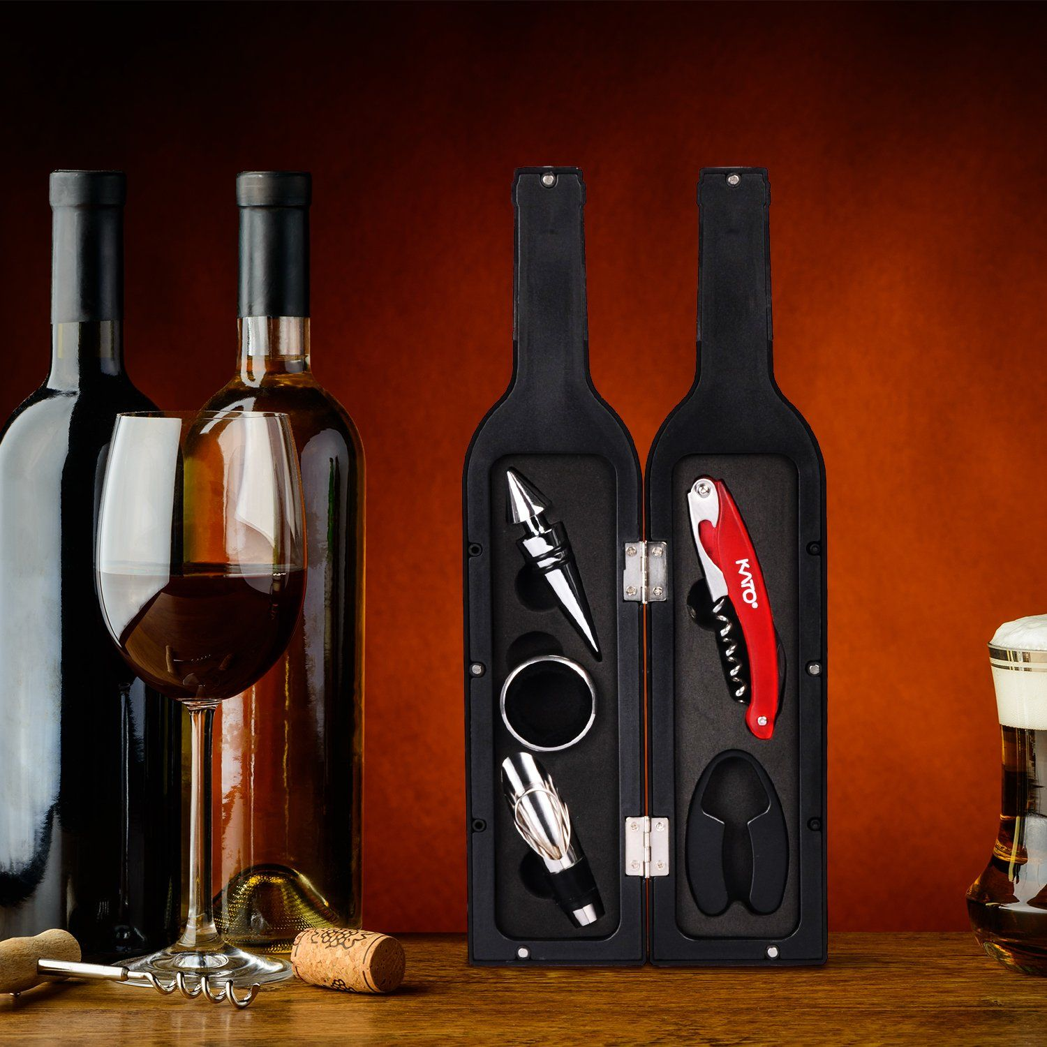 Wine Bottle Accessories Gift Set 5 Pcs Wine Opener Corkscrew Screwpull Kit With Drink Stickers By Ka Gifts For Wine Lovers Wine Corkscrew Perfect Wedding Gift