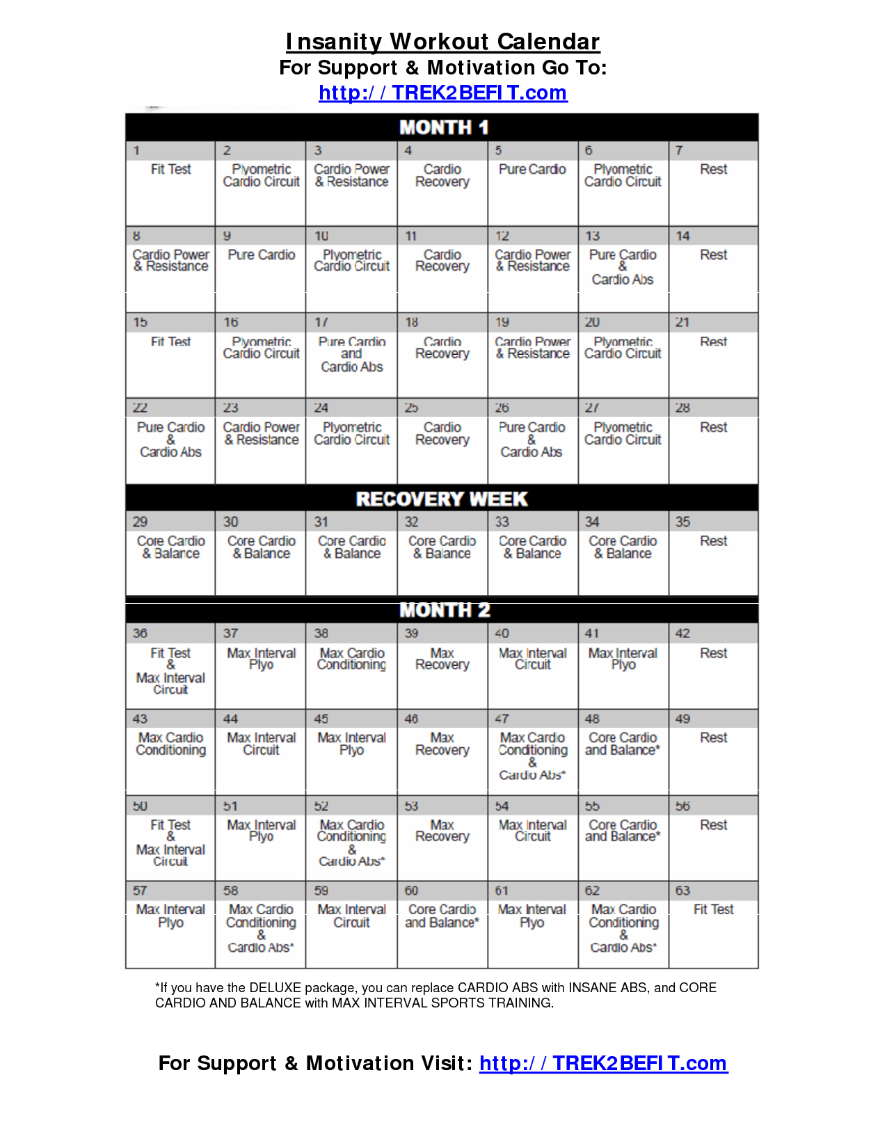 Insanity Workout Calendar Oh Yeah Started Three Days