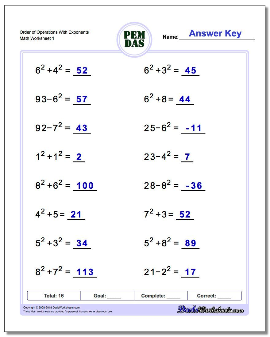 hight resolution of Order of Operations With Exponents Worksheet #Order #of #Operations # Worksheet   Negative numbers worksheet