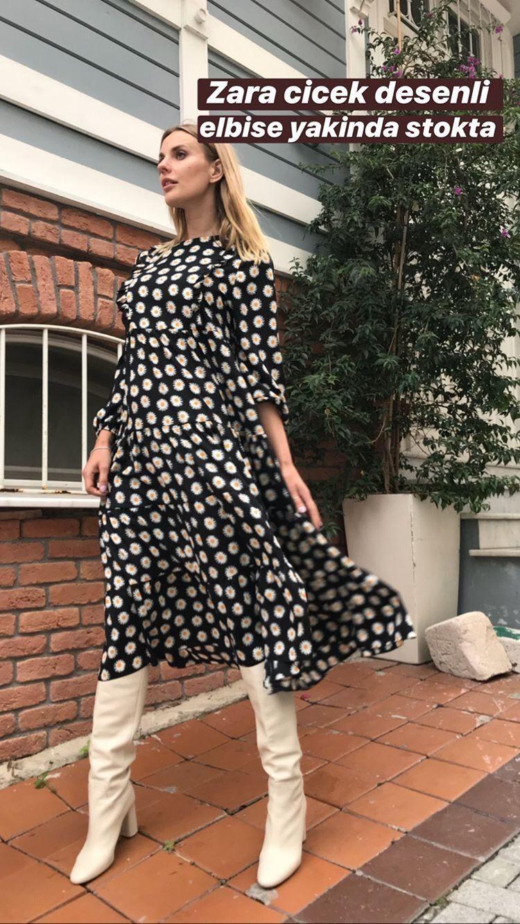 Elbise Cicekli Zara Model Elbise Moda Stilleri Ust Giyim