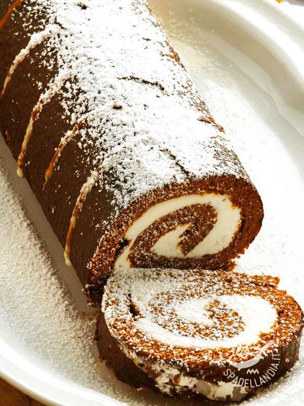 Chocolate roll with mascarpone mousse - Il Rotolo di cioccolato con mousse di mascarpone è un dessert molto appetitoso. E la delicatezza del mascarpone si sposa magnificamente con il cioccolato!