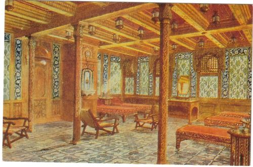 'Turkish bath' on the Titanic. For an extra charge, passengers could get pampered in this lavishly decorated suite of rooms...