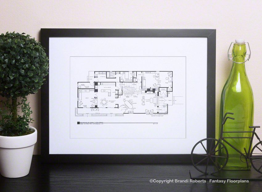 Brady Bunch House Floor Plan TV Show Floor Plan Black and White Art for Home of Carol & Mike Brady 1st Floor As Seen on AOL News