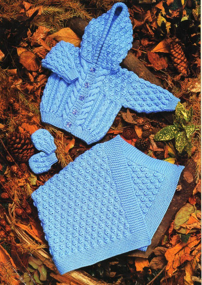 24dfd39b0714 Baby aran hooded jacket blanket mitts knitting pattern pdf cable ...