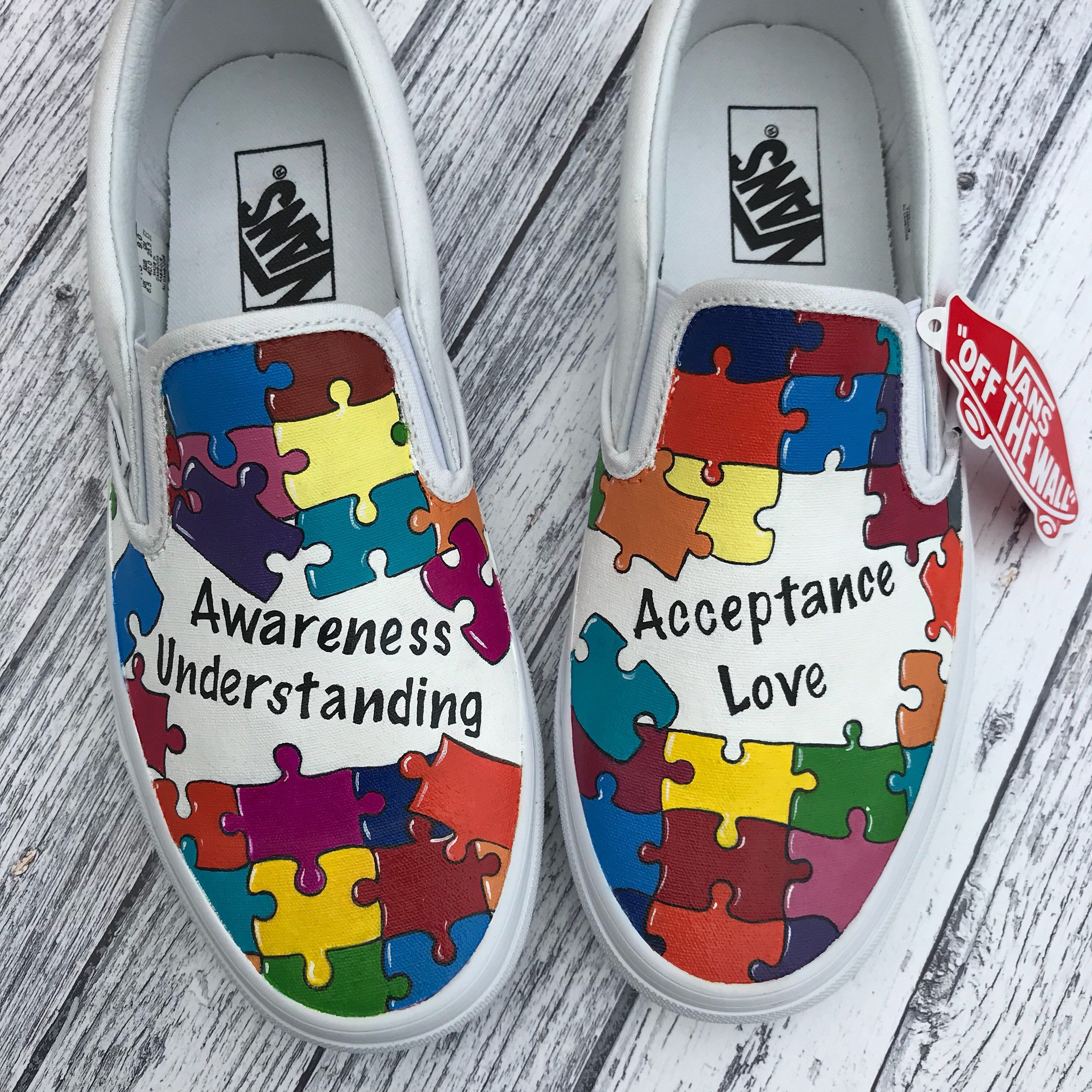 8153cd8ce53002 Custom Painted Autism Awareness Jigsaw puzzle vans shoes sneakers All  sizes. by AngeLordArt on Etsy